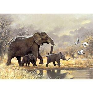 5D Full Drill Diamond Painting Art Craft Elephant Walking Embroidery Leisure