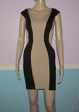 XOXO Two tone Black and tan cap sleeve above knee dress Juniors 1 / 2 rear slit