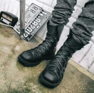 Men Lace Up High topCombat Military Casual Leather Ankle Boots Punk Knight Shoes