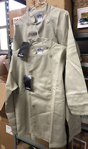 Lot Of 2 Chef-Tex Chef Coat Long Sleeve Khaki Men's Large Poly Cotton NEW 44 Reg