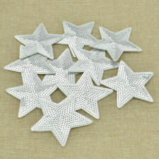 10pcs Silver Stars Patches Sew on DIY Embroidery Clothes Decor Sequins Applique
