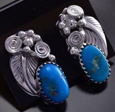 Turquoise & Silver  Leaf & Swirls Post Earring by Etta Smith  9J17F