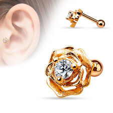 CZ Rose 14K Gold Plated Surgical Steel Helix Tragus Cartilage Bar Stud Earring
