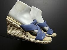 Women's Rockport Sky Blue Leather Rattan Wrapped Wedge Slide Sandal Sz 7.5 MINT!