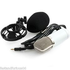 White Condenser Microphone Mic BM700 Sound Singing Studio Recording+Shock Mount