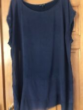 Eileen Fisher Blue Capped Sleeve Silk Floaty Top with Sheer panels. Size XL