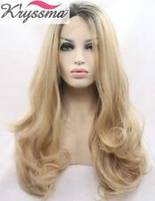 Kryssma Womens Blonde Ombre Synthetic Lace Front Wigs Wavy 22 inch Natural