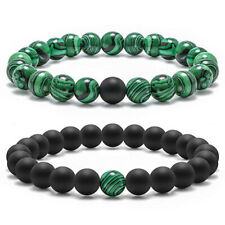 Fashion Bracelets for Couple Charm Black Green Malachite Buddhist Birthday Gifts