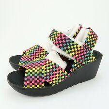 Wild Pair Womens Fortuna Wedge Heels Sandals Black Multi Color Size 7.5 M