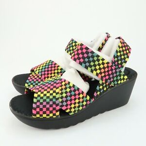 Wild Pair Womens Fortuna Wedge Heels Sandals Black Multi Color Size 7.5 M  #