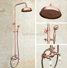 Retro Red Antique Copper Bathroom Waterfall Rain Shower Faucet Set frg581