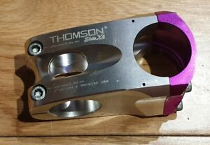 Silver and Purple Thomson Elite X4 Stem 0* x 50 x 31.8