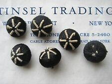 18 pcs Vintage Antique Black/White Star Rayon Buttons Doll Lingerie Upholstery