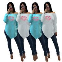 NEW Women Irregular Boat Neck Oblique Shoulder Red Lip Print Casual T-shirt Tops