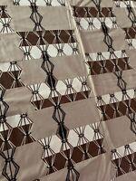 Vintage 50s Quilt Brown Black Tan White Diamonds Mid Century Atomic Era Cotton