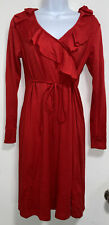 Planet Motherhood Maternity long sleeve Red tunic shirt with tie. Women's Medium