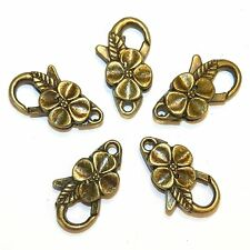 MX950L Antiqued Bronze Large 25mm Flower Design Lobster Claw Focal Clasp 25pc