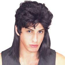 Black Mens Mullet Wig Straight Hair Adult Tony Perkis Wayne Campbell Costume
