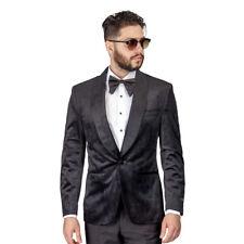 Tuxedo Jacket Mens Slim Fit Black Dinner Velvet Blazer Shawl Lapel 1 Button AZAR