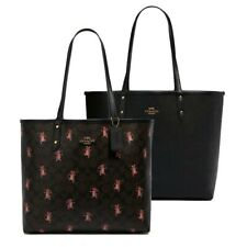 NWT COACH Reversible City Tote Canvas Party Mouse Print Brown Black Pink F80231