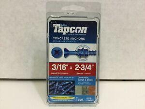 """Tapcon Concrete Anchor 3/16"""" x 2-3/4"""" Phillips Head Screw, PF3-234, 25 pack"""