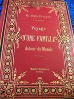 VOYAGES AUTOUR DU MONDE YACHT MER CARTONNAGE 6CARTES 120GRAVURES BOIS LIVRE BOOK