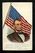 Political President postcard Abraham Lincoln US Flag patriotic Vintage