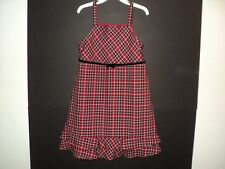 Gymboree Girls Sz 6 Jumper Red Plaid Double Ruffled Hem Black Velvet Belt & Bow