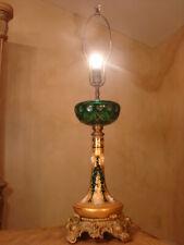 AMAZING ANTIQUE CZECH BOHEMIAN ENAMELED GLASS EMPIRE LAMP