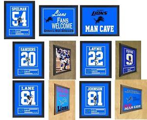 Detroit Lions Mathew Stafford Johnson Sanders Framed 8x10 Jersey Photo MAN CAVE