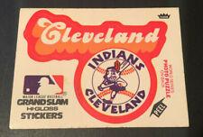 1978 Fleer Grand Slam Hi-Gloss Cleveland Indians Chief Wahoo Logo Sticker Card
