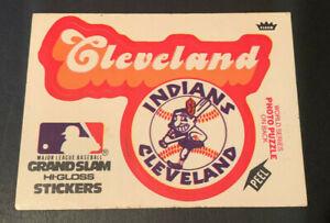 1978 Fleer Sticker Card Grand Slam Hi-Gloss Cleveland Indians Chief Wahoo Logo