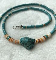 """#660 Native American Made Turquoise & Shell Heishi, Sterling Silver Necklace 20"""""""