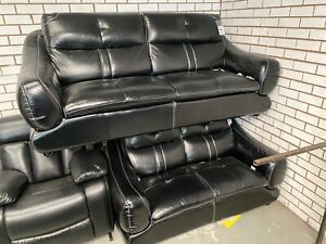 NEW THREE AND TWO SEATER SOFA SHINY BLACK FAUX LEATHER BONDED 3 PLUS 2