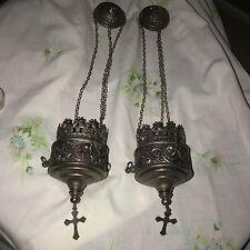 Catholic Altar Hanging Sanctuary Lamp Silver Metal Vintage Pair Iconography