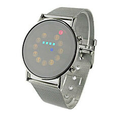 Red + Yellow + Green + Blue LED Light Stainless Steel Fashion Mens Wrist Watch