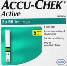 100 Test Diabetic Strips for Glucometer Accu-Chek Active, Sugar, Exp 2019