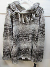 Elementz Size XL Cowl Neck Brown Gray Metalic Sweater New Womens
