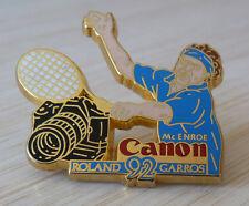 RARE PIN'S SPORT TENNIS ROLAND GARROS 92 CANON MC ENROE BLEU ARTHUS BERTRAND