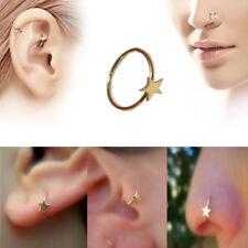 18K Gold Star Nose Ear Cuff Ring Cartilage Tragus Septum Lip Eyebrow Hoop Stud