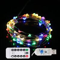 USB Micro Draht Lichterkette mit Fernbedienung und Timer 10M 100 LED RGB DE 2R