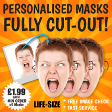 "PERSONALISED FACE MASKS ""FULLY CUT-OUT"" STAG DO HEN NIGHT BIRTHDAY PARTY STICKS"