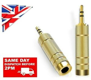 BIG to SMALL 3.5mm MALE to 6.35mm FEMALE GOLD JACK PLUG AUDIO STEREO AUX ADAPTER
