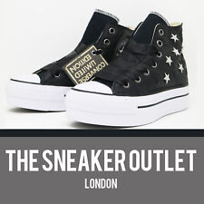 New Womens Limited Edition Converse Leather Hi Top UK Size 3 Black Trainers