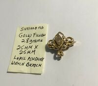 Vintage Simmons Gold Filled Lapel Pendant Watch Brooch 25mm