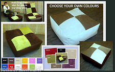 ZIPPY FAUX LEATHER & CHENILLE BEANBAG FOOTSTOOL BEAN BAG CUBE FOOT STOOL WIPE CL