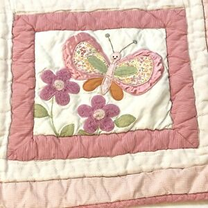 "Lambs & Ivy Baby Crib Quilt Blanket Wall Decor 40X33"" Butterflies Flowers Girl"
