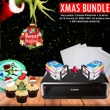 Edible Printer Bundle + 2 sets of ink Canon Wireless IP7220 ,100 Wafer Sheet New