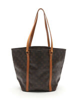 LOUIS VUITTON Sac shopping monogram tote bag PVC leather brown