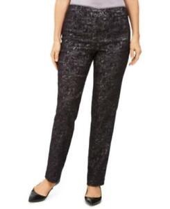 $54 Jm Collection Petite Jacquard Straight-Leg Pants Black Size Petite Medium